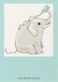 Elefant Postkarte auch als Ausmalbild erhältlich